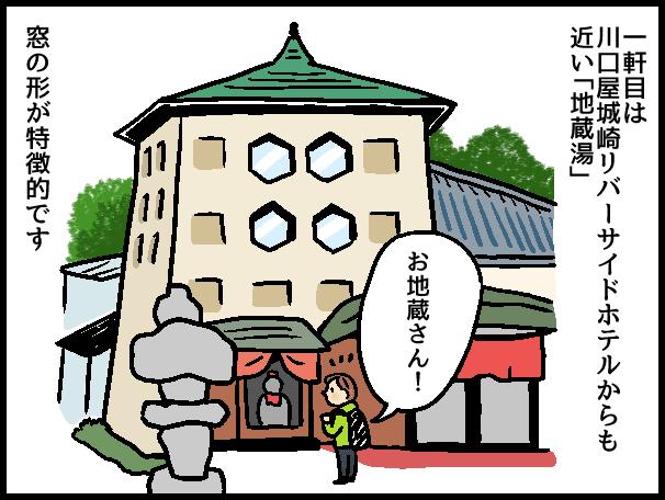 一軒目は 川口屋城崎リバーサイドホテルからも 近い「地蔵湯」 お地蔵さん! 窓の形が特徴的です