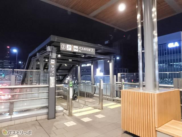 京都駅2F広場からF3バス停へ降りられる