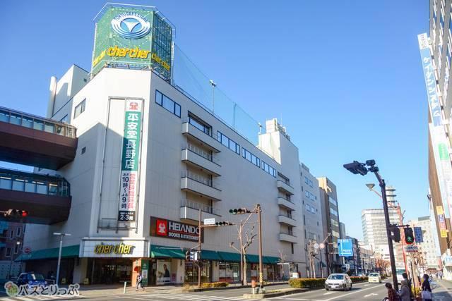 どっとこむライナーが到着する長野市の東急シェルシェ前