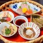 民芸調の籠に盛り付けられた、川魚の刺身(イトウ、イワナ、八幡平サーモン)、アミタケ、アシタバなど