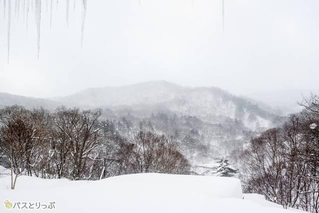 障子窓を開くと圧巻の雪景色が