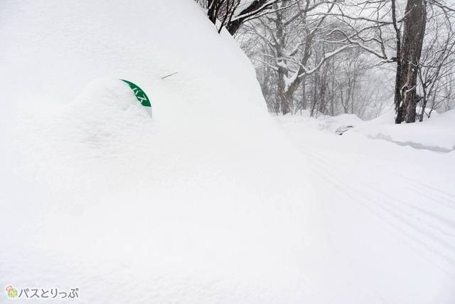 """雪に埋もれつつも、かろうじて""""主張""""する峡雲荘のバス停"""