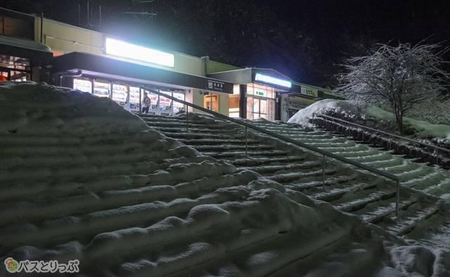 雪に埋まる紫波サービスエリア