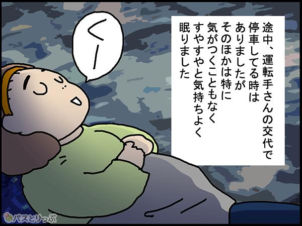 途中、運転手さんの交代で停車してる時はありましたが、そのほかは特に気がつくこともなく、すやすやと気持ちよく眠りました。