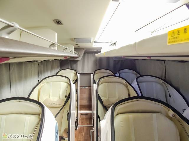 カーテンがあるのは側面と背面、運転席と乗客座席の境目のみ