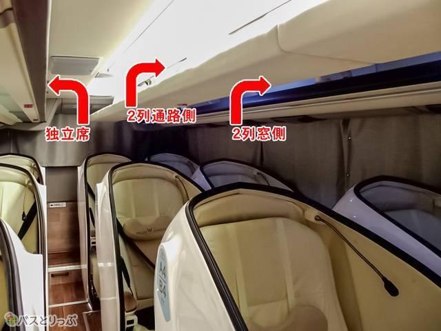 各座席ごとに荷物棚がある