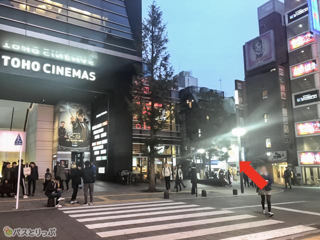 「TOHO CHINEMAS」の右横の道を直進