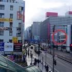 JR山形駅2階通路から見える山形銀行がのりば目印