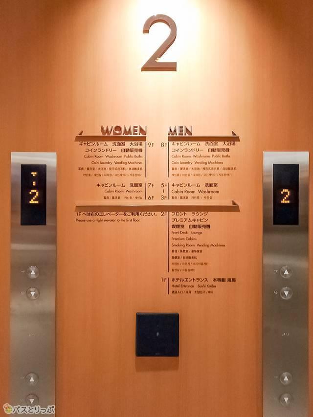 左が女性専用、右が男性専用のエレベーター