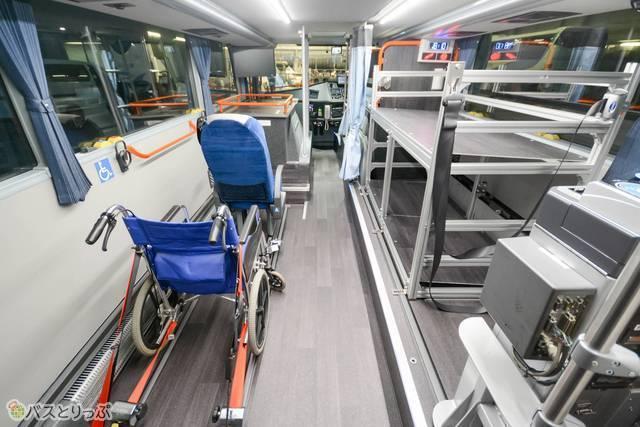 車椅子用のスペースと荷物置き場