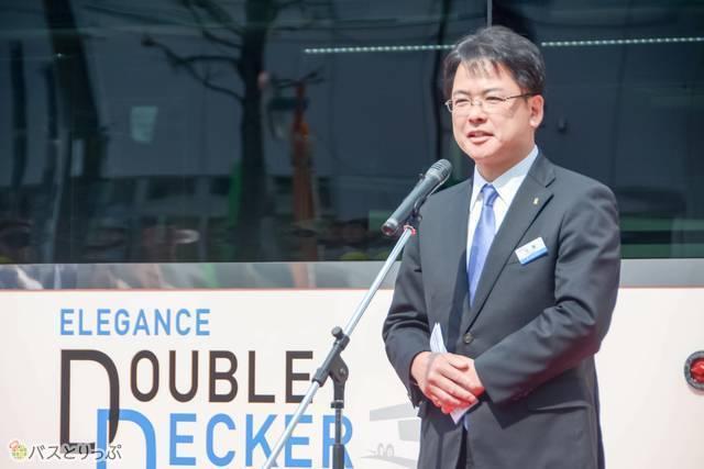 挨拶に立った京成バスの加藤浩一常務