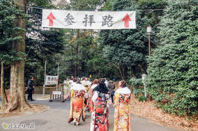 拝殿に向かって砂利道の参道を歩く新成人