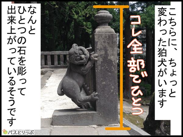 こちらに、ちょっと変わった狛犬がいます なんと ひとつの石を彫って出来上がっているそうです