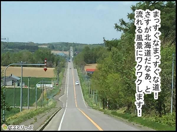 まっすぐなまっすぐな道!さすが北海道だなあ、と流れる風景にワクワクします!
