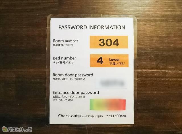 パスワードの書かれたカードがこちら。館内を歩く時は忘れずに!