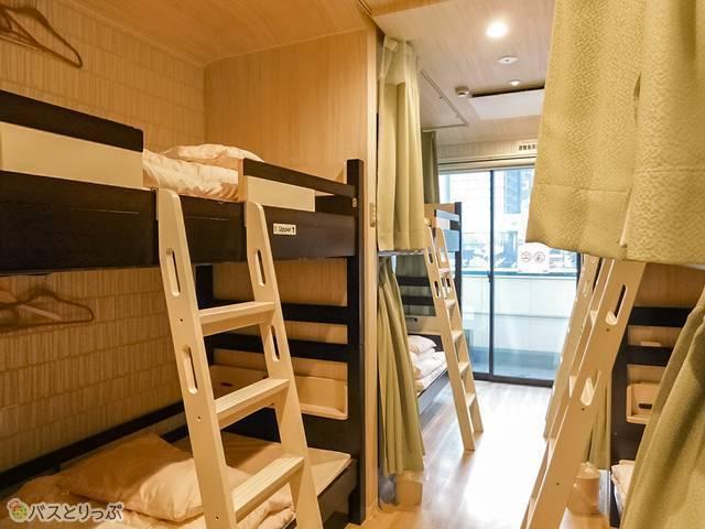 8人部屋がこちら。2段ベット×4
