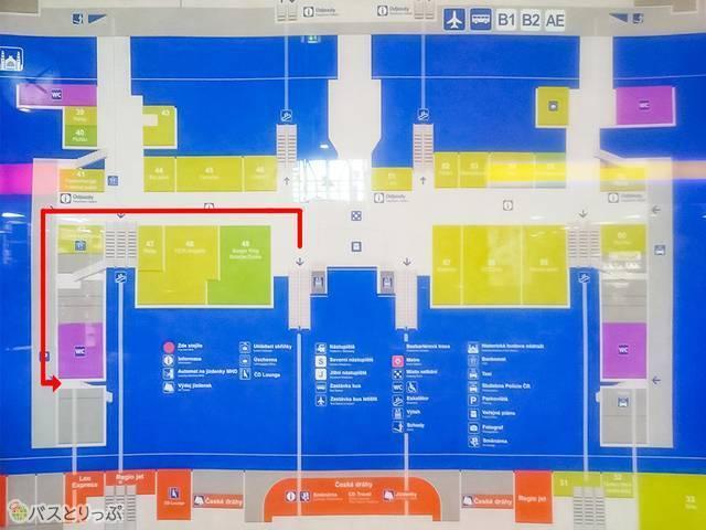 プラハ中央駅構内の地図