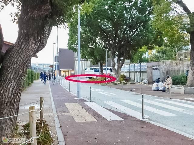 (2)出口から左側の少し先が「天王寺公園東バス駐車場(近鉄フレンドリーホステル前)」