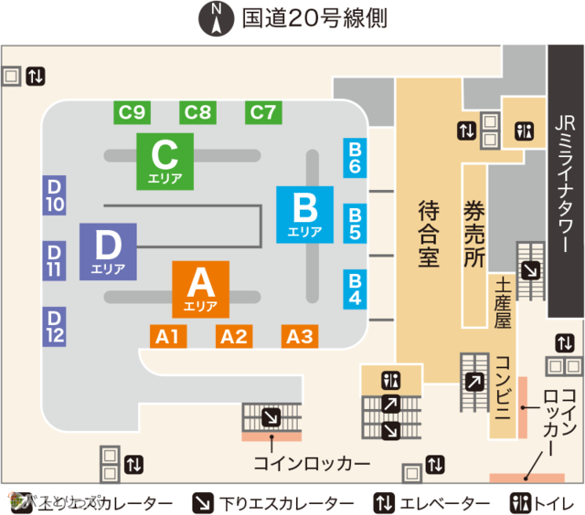 Floor map of Busta Shinjuku on 4th Floor Bus Terminal