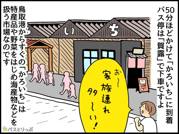50分ほどかけて「かろいち」に到着。バス停は「賀露」で下車ですよ。鳥取港からすぐの「かろいち」は特産品や野菜をはじめ海産物などを扱う市場なのです。