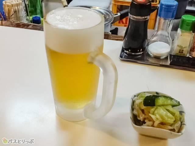 ビールとお漬物