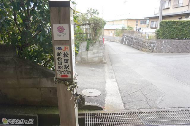 4)東名高速・国道246号線の下をくぐりぬけると、ここでも駅への案内表示が