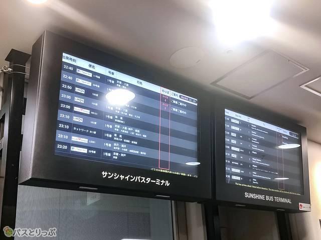 バスの発車時刻や便名などが表示される電光掲示板
