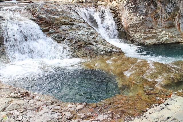 色の濃いところが甌穴(四万温泉・レトロな散策)