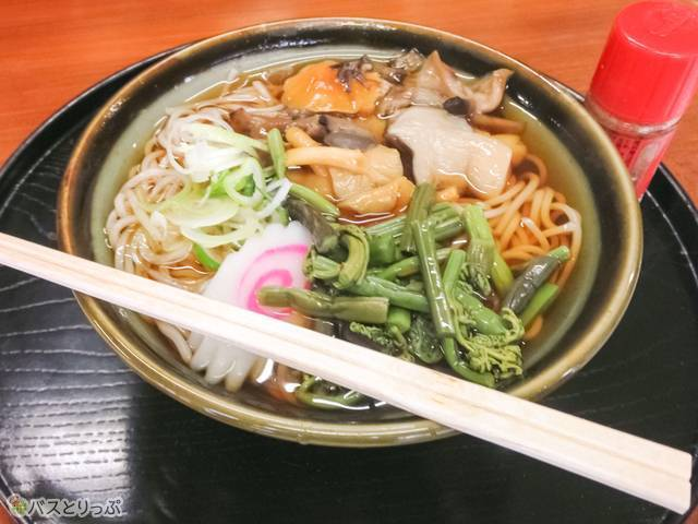 """""""Mountain vegetable soba noodles (山菜そば)"""" - 550JPY"""