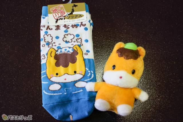 """There are various items such as socks and plush toys featuring """"Gunma chan (ぐんまちゃん)""""."""