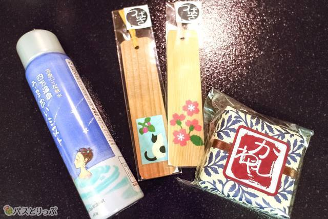 From the left, Shima Onsen spray mist lotion - 1,080JPY, bookmarks - 170JPY, soap - 880JPY