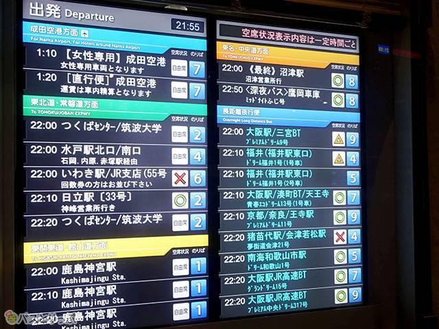 掲示板には空席状況とのりばが表示されている(プレミアムドリーム11号で東京から奈良へ 新幹線より便利な夜行バスの旅)