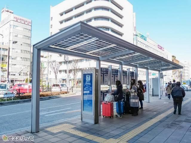 川越駅西口バス停は全ムーンスター号が発着