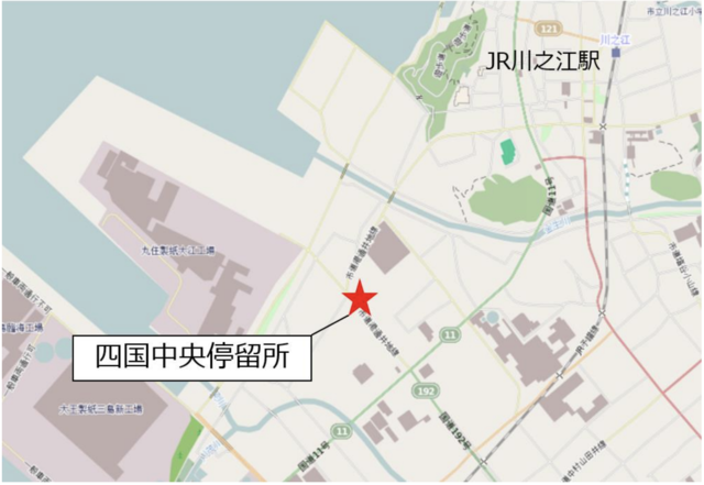 四国中央停留所の周辺案内図