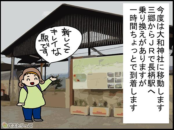今度は大和神社に移動します 三郷からJRで長柄駅へ乗換えがありますが一時間ちょっとで到着します 新しくてキレイな駅です