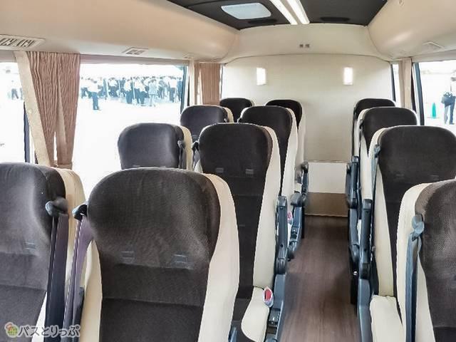 バス内部。こちらのシートタイプはプランA、全部でプランEまであり