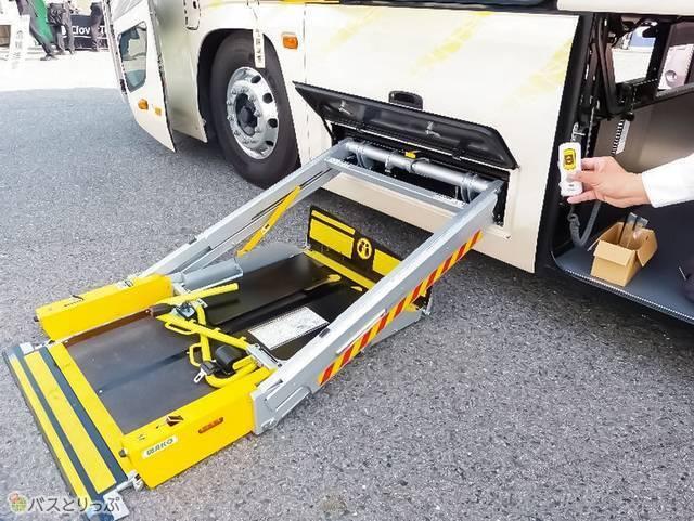 こちらのリフトに車いすと補助人が乗り、ゆったりと安全に乗降
