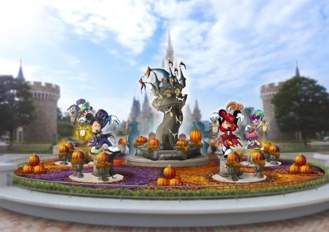 シンデレラ城前のプラザのデコレーション(c)Disney