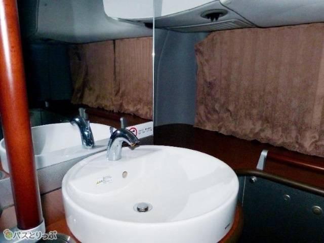 トイレには広い洗面台と大きな鏡が。豪華!