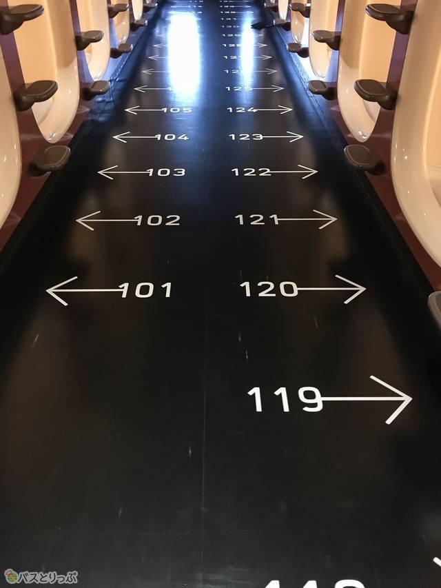 床に番号があるので、自分の部屋がわかりやすい