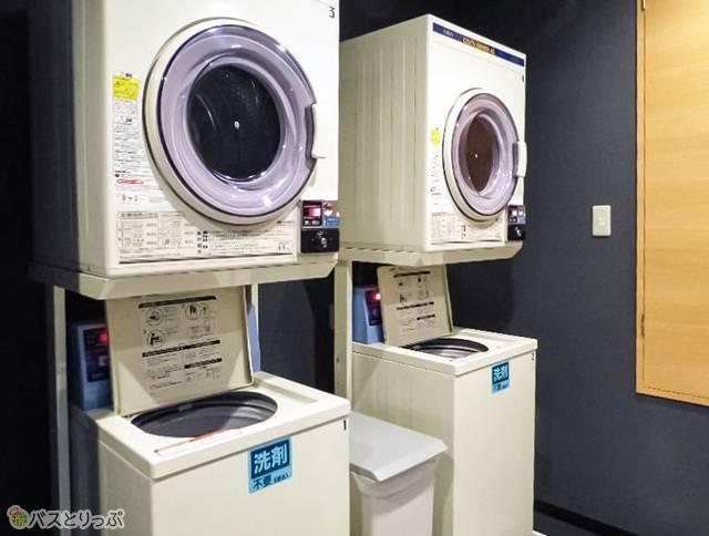 洗濯機と乾燥機完備。洗剤自動投入型なのですぐに使える