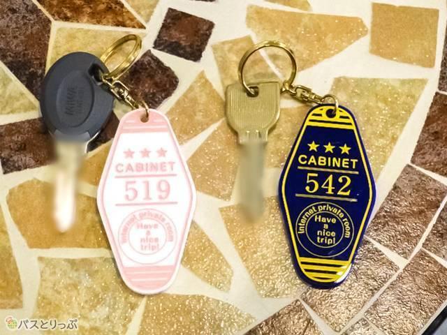 鍵は2種類。女性用にだけレディースエリア入室用のタッチキー機能あり
