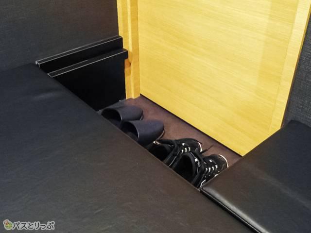 靴エリア。厚底スニーカーでも充分置ける高さ