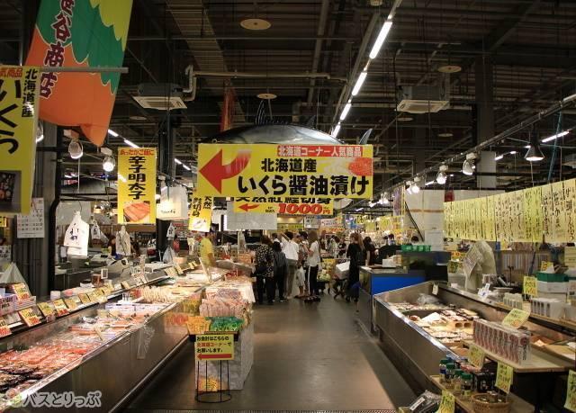 北海道の海産物などが並ぶ「北海道コーナー」