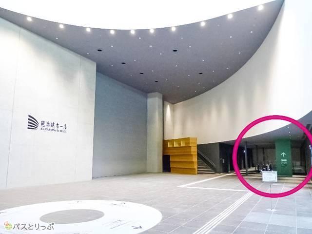 2Fから24~29(緑)乗り場へは、熊本城ホール隣から