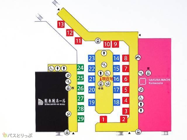 バスターミナル内マップ。色別に行き方が違います