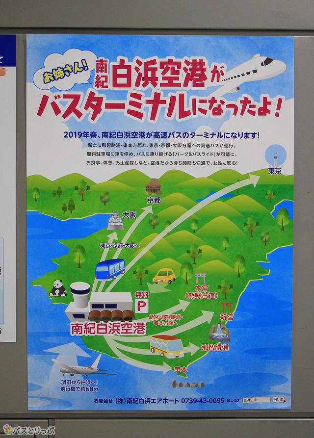 高速バス乗り入れ開始をPRするポスター