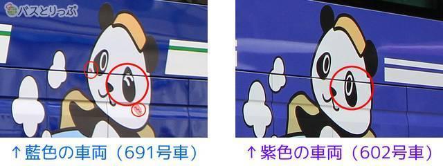 7つの違い その6「側面のパンダ(わかぱん)の左目とほっぺ」