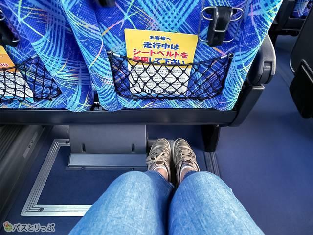 前の席との間は狭いですがシートの下に足が入るので 、膝を伸ばして座れます