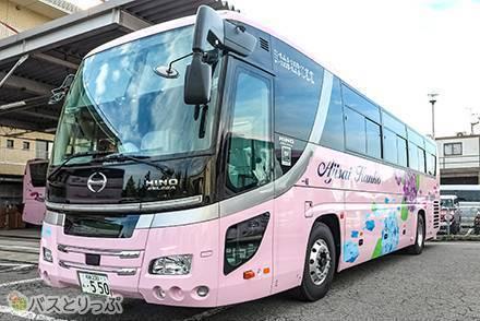 ピンクの車体にあじさい柄! 「あじさい観光バス」の高速バス乗車記【大阪~東京】